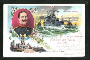 AK Portrait Kaiser Wilhelm II., Kriegsschiff S. M. Panzerschiff Brandenburg auf hoher See, Kyffhäuser-Denkmal