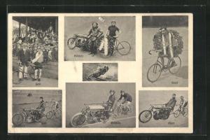 AK Radsportler Hall mit Kranz, Ebert mit Kranz und Böschlin auf einem Tandem