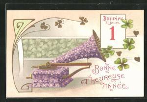 Präge-AK Grammophon mit Blumen, Kalenderblatt 1. Januar, Neujahrsgruss