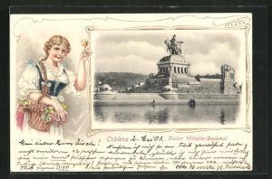 Präge-Passepartout-Lithographie Coblenz, Kaiser Wilhelm-Denkmal, Frau mit Weinglas