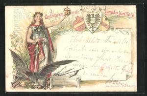 Vorläufer-AK Germania mit Schwert und Krone, Zur Erinnerung an die glorreichen Jahre 1870-71