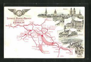 Lithographie Zürich, Gesamtansicht, Bahnhof, Bahnhof Rapperswyl, Landkarte mit Glarus, Sargans und Winterthur