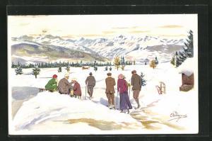 Künstler-AK Carlo Pellegrini: Winterliche Wanderung in den Bergen