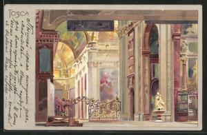 Künstler-AK Leopoldo Metlicovitz unsign.: Tosca, Inneres einer Kirche