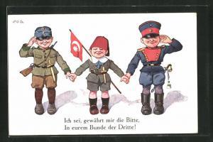 Künstler-AK P. O. Engelhard (P.O.E.): Zweibund-Soldaten mit kleinem Türken als neuem Verbündeten