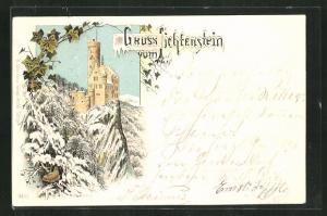 Winter-Lithographie Schloss Lichtenstein im Winter