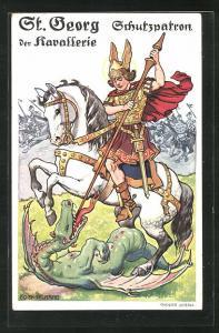 Künstler-AK P. O. Engelhard (P.O.E.): St. Georg der Kavallerie, Schutzpatron kämpft mit dem Drachen