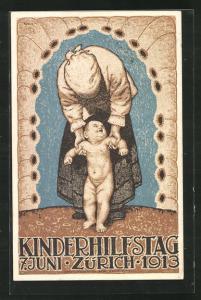 Künstler-AK Zürich, Kinderhilfstag 1913, Mutter mit Kind