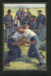 Künstler-AK sign. E. Hodel: Schweizer Soldaten beim Ringen / Schwingen