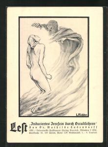 Künstler-AK Lest Induciertes Irresein durch Occultlehren von Dr. Mathilde Ludendorff