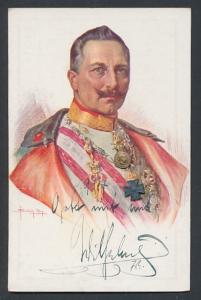 AK Kaiser Wilhelm II. in Uniform mit Orden aus Metall