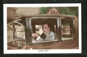 AK Schauspieler Milton Sills am Steuer seines Automobils
