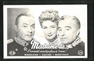 AK Schauspieler Charles Boyer, Danielle Darrieux und Vittorio de Dica in dem Film Madame de...