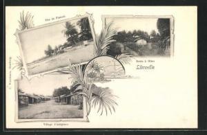 AK Libreville, Village d`indigènes, Route à Glass