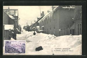 AK St-Pierre, La Rue de l`Hopital, Krankenhaus im Winter