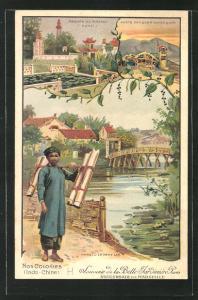 Lithographie Hanoi, Le Petit Lac, Pagode du Pinceau