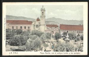 AK La Paz, Plaza Murillo con el antiguo Loreto y los portales
