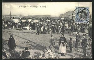 AK Santiago, La Vega, Buntes Treiben auf dem Markt