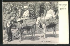 AK Jamaica, Off to the gail, Frauen auf Eseln werden von einem Polizisten abgeführt