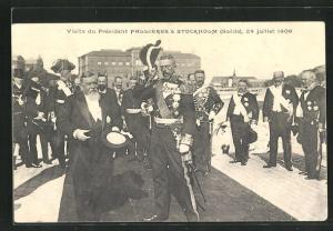 AK Stockholm, Visite du Président Fallières à Suede, 24.7.1908