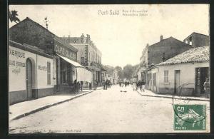 AK Port-Said, Rue d`Alexandrie, Strassenpartie
