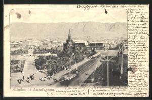 AK Antofagasta, Blick über Strasse mit Kirche und Berge