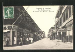 AK Port-Said, Rue du Commerce, Strassenbahn