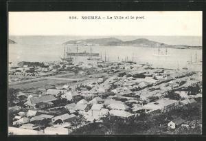AK Noumea, La Ville et le port, Segelschiffe liegen vor Anker