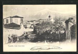 AK Jeod, Tenerife, Blick auf Kirche und Häuser, schneebedeckter Gipfel