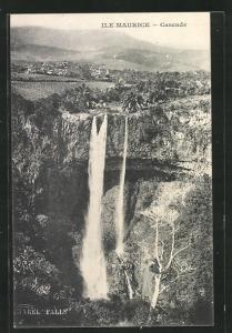 AK Mauritius, Cascade, Wasserfall und Landschaft