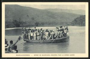AK Nouvelle Caledonie, Départ de Volontaires Indigénes Pour la Grande Guerre