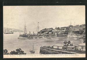 AK Saint-Pierre, Le Fort & la Rade de Fort-de-France avec les Croiseurs Suchet