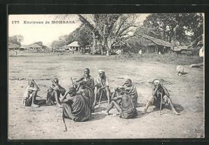 AK Mombasa, Dorf mit Einheimischen