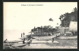 AK Noumea, Village et piroques canaques