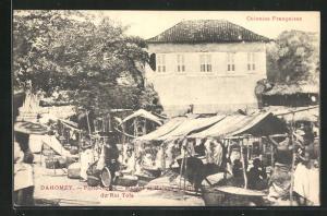 AK Dahomey, Porto Novo, Marche et Maison de Ville