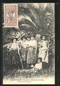 AK Martinique, Types et costumes Creoles, Frauen mit Hüten
