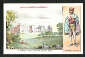 AK Windsor, Chateau, Edouard III in Hermelin Cape mit Schwert und Krone