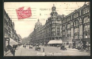 AK London, Brompton Road, geschäftige Strasse