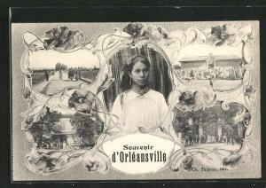 AK Orleansville, Gebäudeansichten, Strassenansicht, junge Frau mit Schmuck