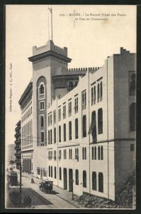 AK Alger, Le Nouvel Hotel des Postes et Rue de Constantine