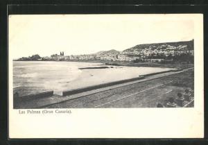 AK Las Palmas, Gran Canaria, Blick auf Strand und Häuser