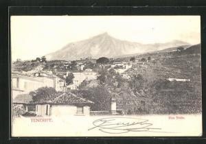 AK Pico Teide, Tenerife, Blick über Häuser auf Berg