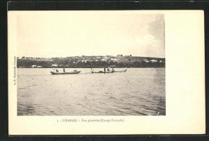 AK Loango, Vue generale, Blick vom Wasser auf Stadt