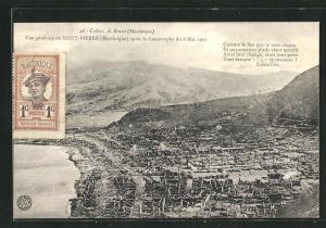 AK Saint-Pierre, Vue generale apres la Catastrophe du 8 Mai 1902, Häuserruinen