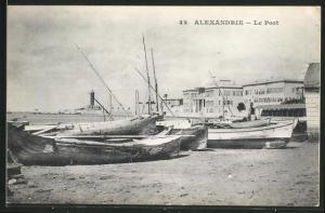 AK Alexandrie, Le Port, Schiffe am Strand