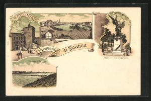 Lithographie Roanne, Bassin du Canal, Monument des Combattants, Barrage de la Loire, L`ancien Chateau