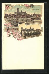 Lithographie Nevers, Palais ducal, Blick auf Brücke mit Kathedrale
