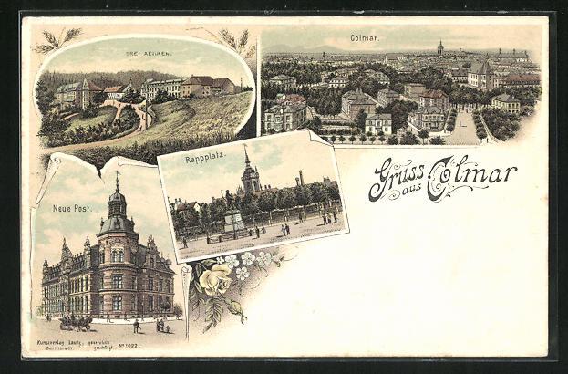 Lithographie Colmar, Totalansicht, Rappplatz, Neue Post 0