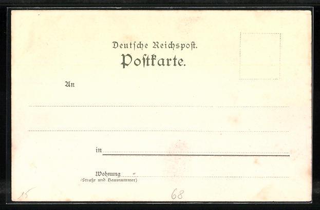 Lithographie Colmar, Totalansicht, Rappplatz, Neue Post 1