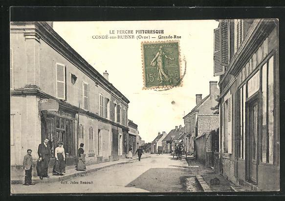 AK Conde-sur-Huisne, Grande-Rue, Häuserzeilen 0